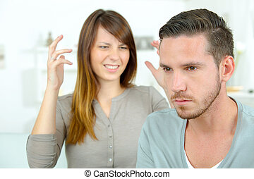 Woman shouting at her boyfriend