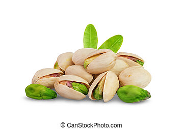Pistachios nuts - Pistachio nuts with leaf isolated on white...