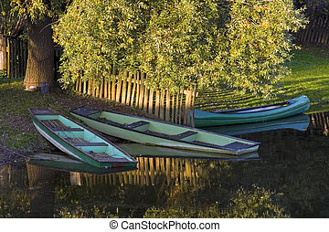 Rowboats on the river.