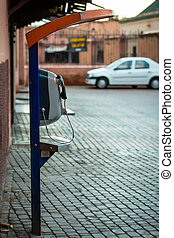 Payphone on the street in Marrakechs Medina Morocco