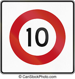 New Zealand road sign RG-1 - 10 kmh limit.