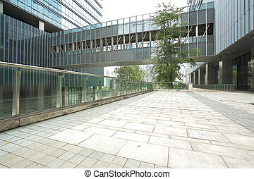 Empty road floor with modern building background - Modern...