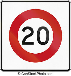 New Zealand road sign RG-1 - 20 kmh limit.