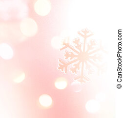 Winter holiday snow flake pink background, bokeh.