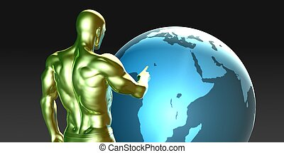 Businessman Pointing at Africa or African Business...