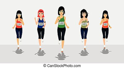 Female Runners - Female runners running competition with...