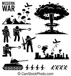 War Warfare Nuclear Bomb Cliparts - Set of human pictogram...