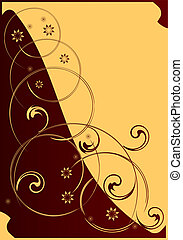 Decorative postal. - Floral decorative pattern on a red and...