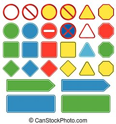 Blank traffic, signs set, easy to edit vector image, illustration vector