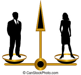 Libra. - Silhouettes of man and woman on...