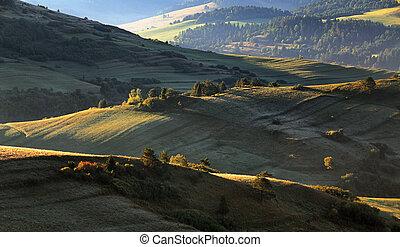Green spring rural hills landscape, Slovakia