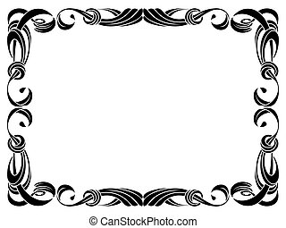 black ribbon frame isolated on white