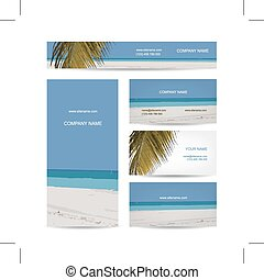 Business cards design, tropical island