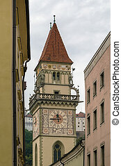 Old Town Hall, Passau - clock tower of Old Town Hall in...