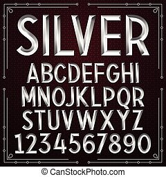 Vector Silver Embossed Font