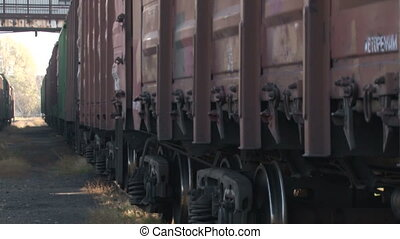 The cars and gondola cars at the factory for transporting goods