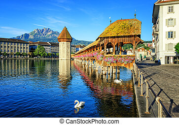 Wooden Chapel Bridge and Water Tower int Lucerne,...