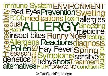 alergia, palavra, nuvem,