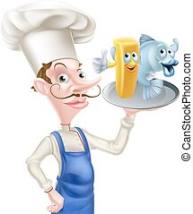 Chef Holding Fish and Chips - A cartoon chef holding a...