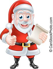 Santa Christmas List Thumbs Up - Cute cartoon Santa Claus...