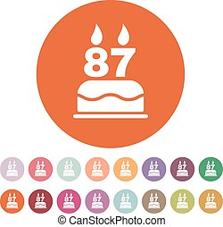 The birthday cake with candles in the form of number 87 icon...