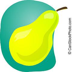 Pear fruit illustration - Sketch of whole fresh pear, fruit...