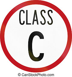 New Zealand road sign RH-1c - Class C road Heavy vehicles...