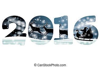New 2016 year greeting banner, vector illustration