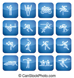 Cobalt Square 2D Icons Set: Sport - Blue squared icons...