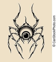 Illustration of a monster. Spider with the eye.