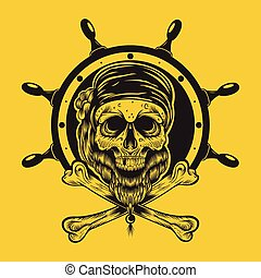 Illustration of a pirate skull - Illustration of a pirate...