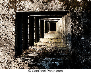 Loophole of old military bunker - Outside detailed view of...