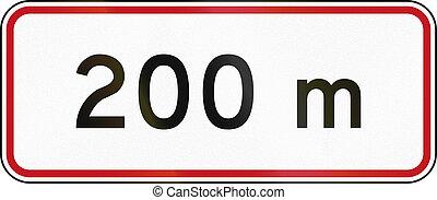 New Zealand road sign RH-5 - 200 metres ahead.