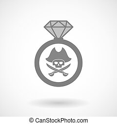 Isolated vector ring icon with a pirate skull