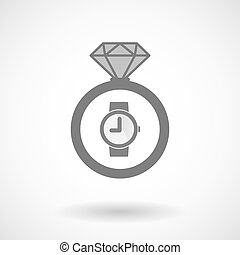 Isolated vector ring icon with a wrist watch - Illustration...