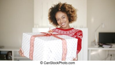 Sexy African American Woman with Christmas Gift - Sexy...