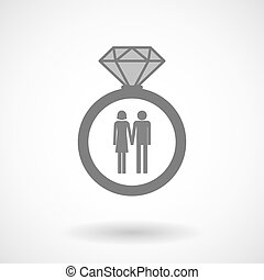 Isolated vector ring icon with a heterosexual couple...