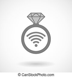 Vector ring icon with a radio signal sign
