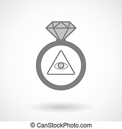 Vector ring icon with an all seeing eye - Illustration of an...
