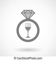 Vector ring icon with a cup of wine