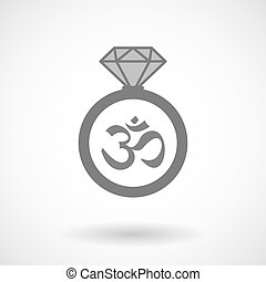 Vector ring icon with an om sign - Illustration of an...