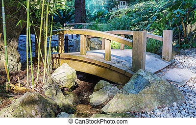 Wooden bridge over a stream in the Japanese garden