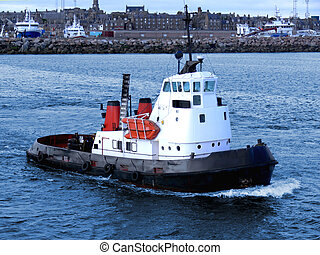 Tugboat B2 - Harbour tugboat underway in harbour area.