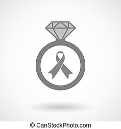 Vector ring icon with an awareness ribbon