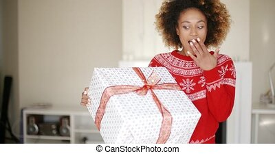 Surprised Beautiful Girl Standing With Big Boxed Gift in her...