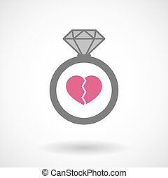 Isolated vector ring icon with a broken heart - Illustration...