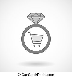 Isolated vector ring icon with a shopping cart