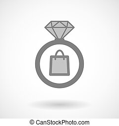 Isolated vector ring icon with a shopping bag