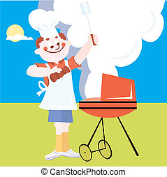 Man doing outdoor grilling vector illustration cartoon