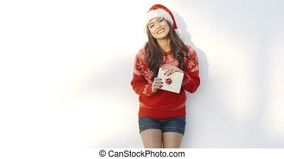 Cute Brunette Woman in Santa Claus Hat She Standing Isolated...